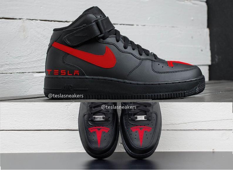 Tesla x Nike Air Force 1 Mid High Black Sneakers