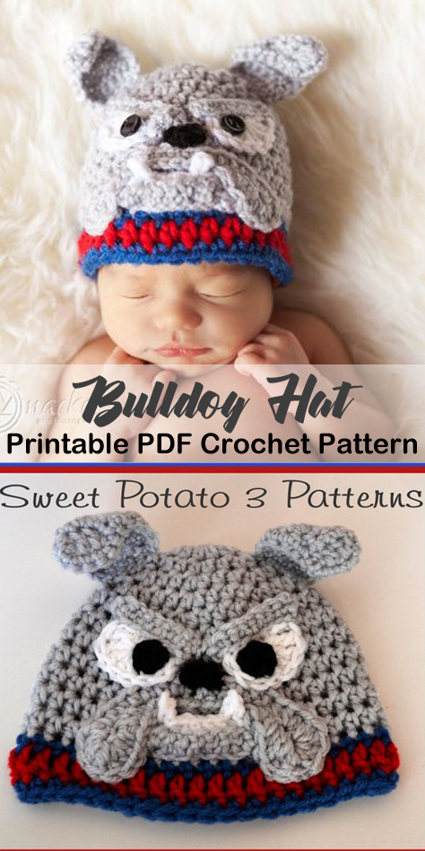 b30159468ee Make a cute bulldog hat. animal hat crochet patterns - crochet pattern pdf  - amorecraftylife.com  hat  baby  crochet  crochetpattern