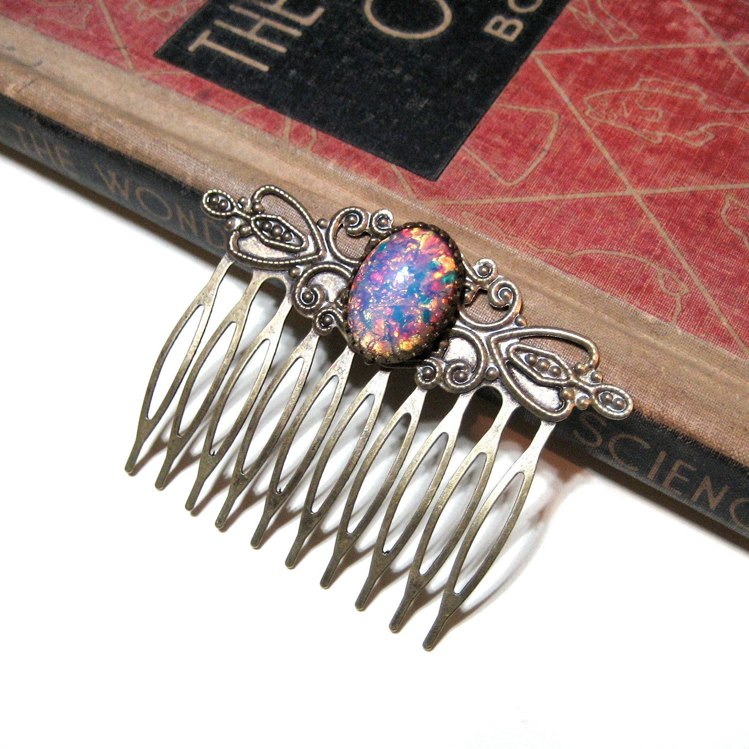 Vintage Pink Harlequin Fire Opal Hair Comb - Antiqued Gold - Antique Brass - WWII. $24.00, via Etsy.