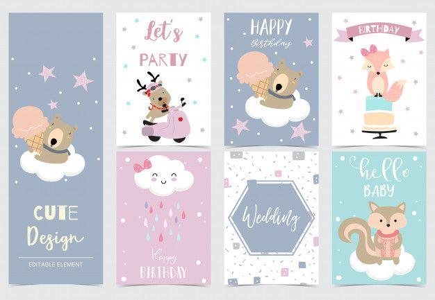 Collezione di carte animali con renne o  Premium Vector