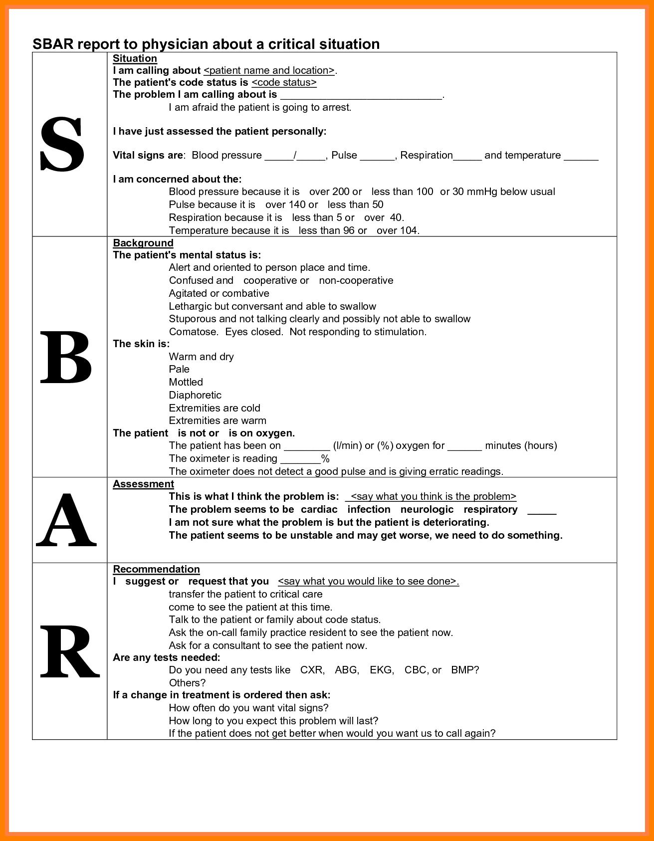 Sbar Nurses Worksheet