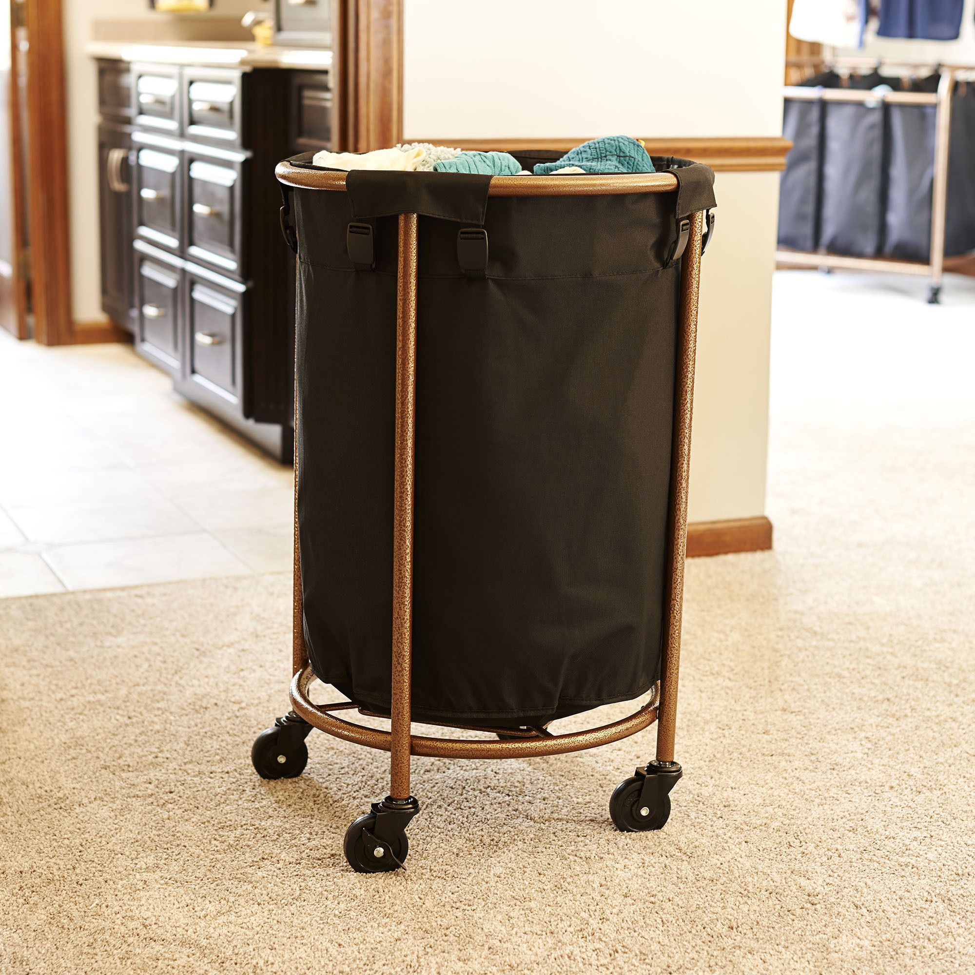 Copper And Black Round Laundry Hamper Round Laundry Hamper