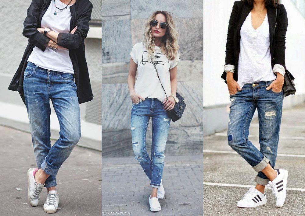 90767624a 10 jeitos de combinar uma calça boyfriend - Moda it Calça Jeans Rasgada,  Jeans Rasgado