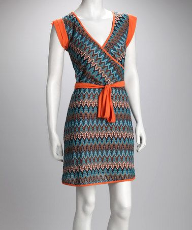 Take a look at this Orange Missoni Stripe Wrap Dress by Pretty Profile: Dresses & Tops on #zulily today!