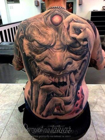 Oblicze Demona Na Całe Plecy Tattoo Tatuaże Fake