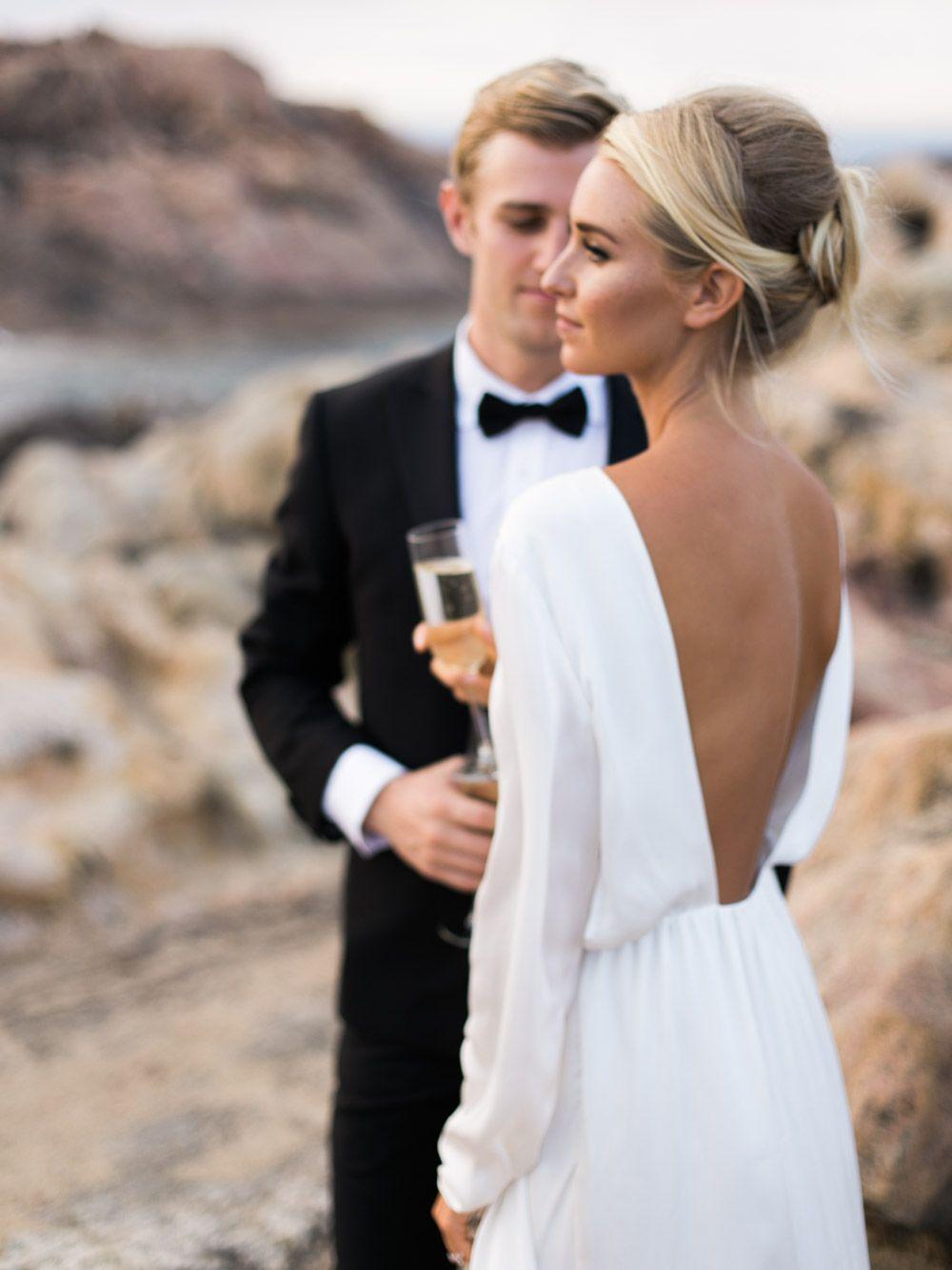 Simple Elegant Wedding Dress Sleeves Sleek Colored