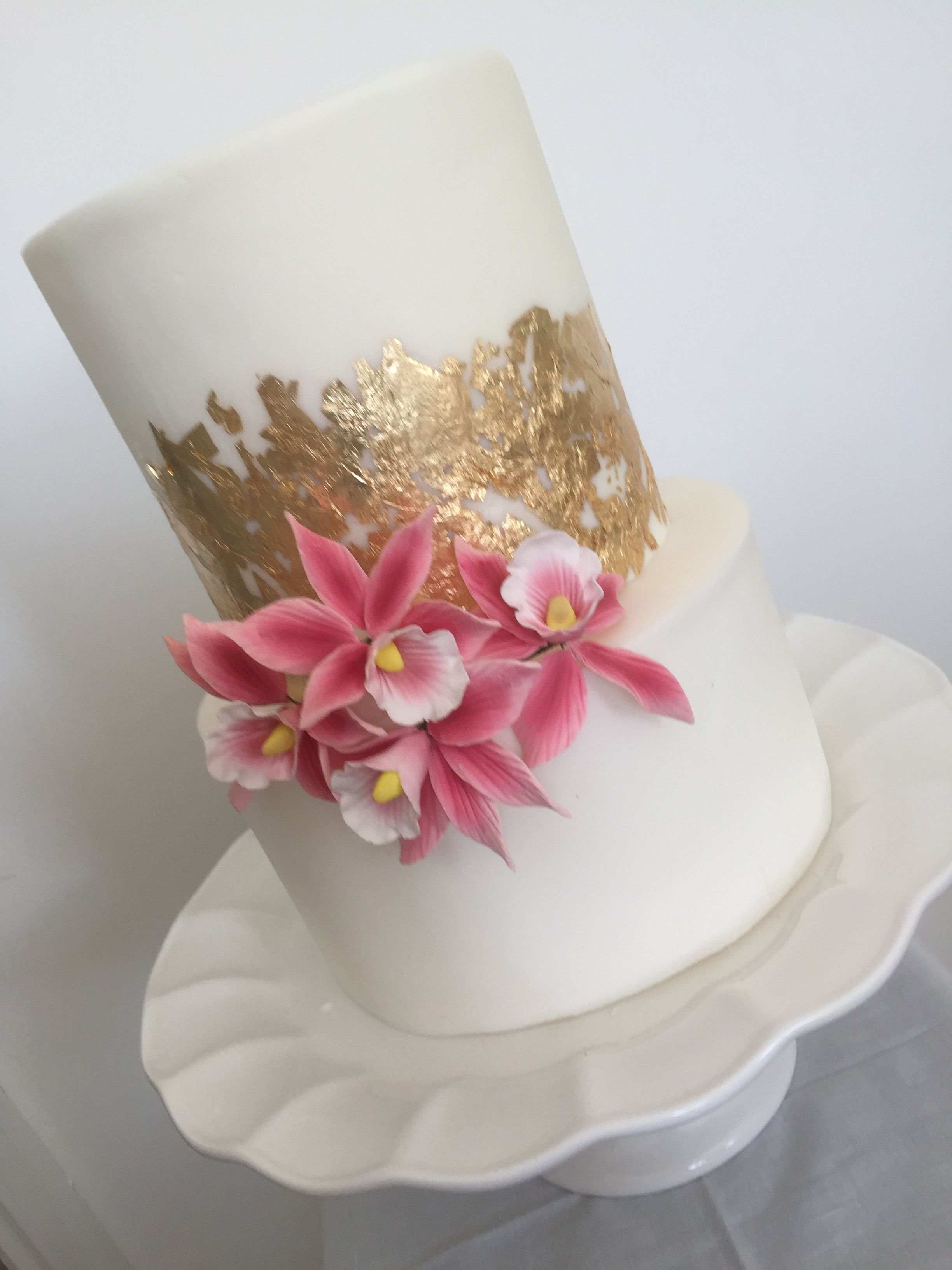 Double Tier Straight Edged Gold Leaf Cake With Orchids