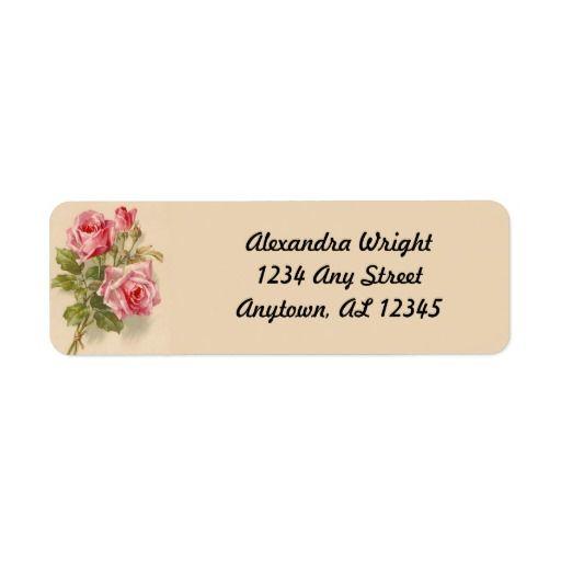 (Vintage Pink Roses) Fill-in your own name & address #ReturnAddressLabels #roses #ForSelf #vintage #pink #USA #CAN #GER #JPN #Bermuda #Scotland #Ireland #Spain #FRA #worldwide