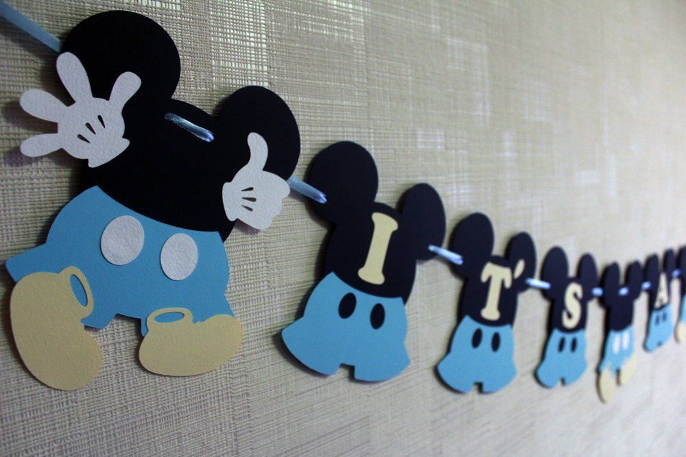 Baby Mickey Mouse Baby Shower Decorations Boy Disney Etsy Cumpleaños De Mickey Mouse Baby Shower De Mickey Mouse Decoracion De Mickey Bebe