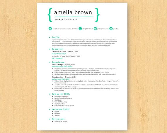 Elegant Simple Green Bright Microsoft Word Resume (1  2 pages - resume 1 or 2 pages