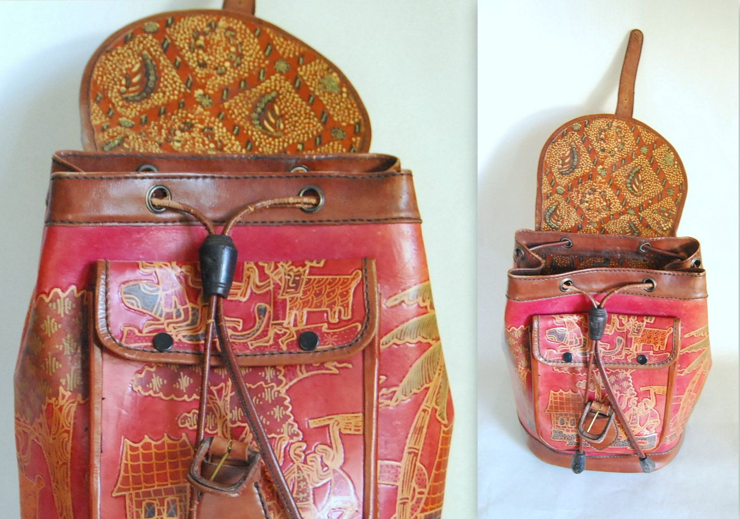 be4c2a4d84ab vintage tooled red & brown Mexican leather backpack. $98.00, via ...