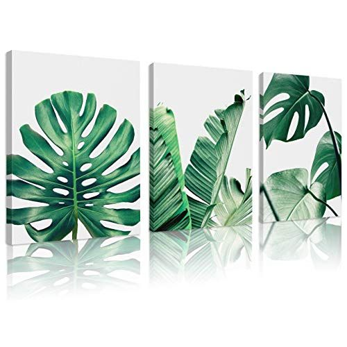 Natural art Simple Green Leaf Canvas Art Tropical Plants Artwork Minimalist Watercolor Painting Wall Decor for Bathroom Living Room Bedroom Kitchen Canvas Prints 18x24inchesx3pcs -   18 tropical plants Watercolor ideas