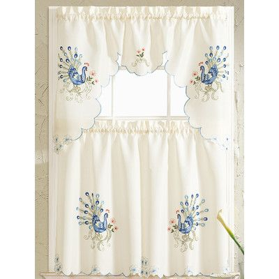RT Designeru0027s Collection Peacock Embroidered Kitchen Curtain Color: Blue