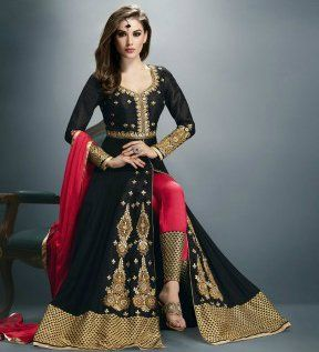 Black & Red Georgette Embroidered Floor Length Anarkali Suit | Saira's Boutique