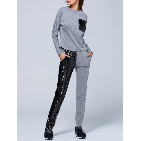 30.33$  Buy now - http://di37w.justgood.pw/go.php?t=206660302 - Pocket Sweatshirt and Sequins Pants 30.33$