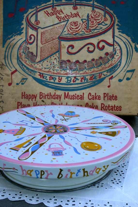 Vintage Happy Birthday Rotating Musical Cake