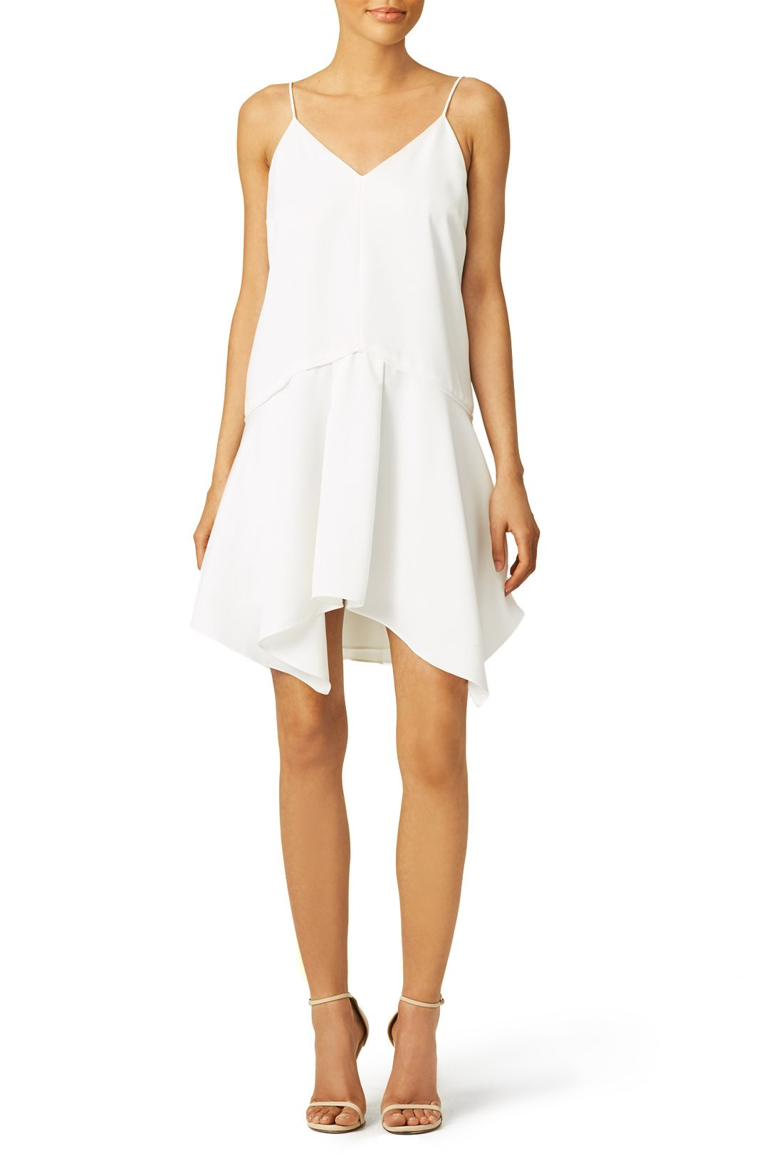Picked From Rent The Runway White Crepe 100 Polyester Sleeveless V Neckline Asymmetrical Full Skirt 35 5 From Dresses Camilla And Marc Casual Dresses