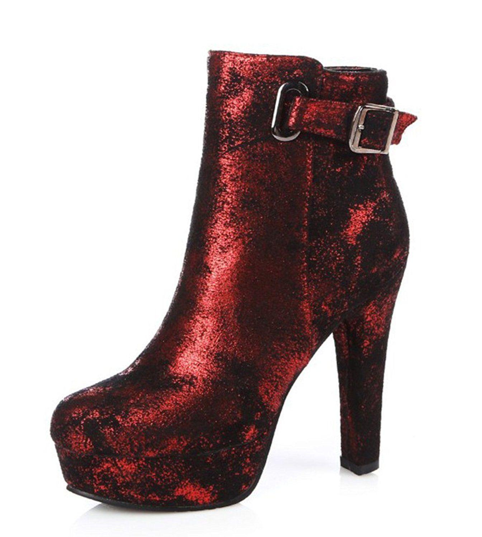 Women's Fashion Round Toe Side Zipper Dress Platform Lace Up Chunky High Heel Booties Shoes