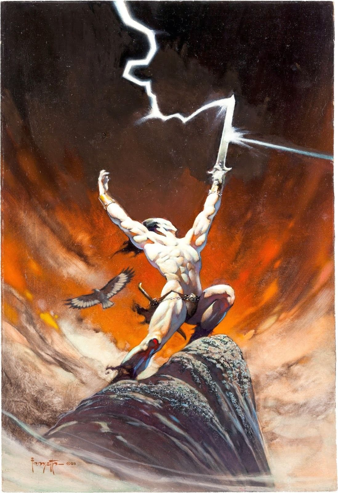 This poor guy just can't avoid that lightning. Frank Frazetta ...