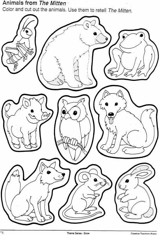 Animals from the mitten. You can cut these out and use to retell--or ...
