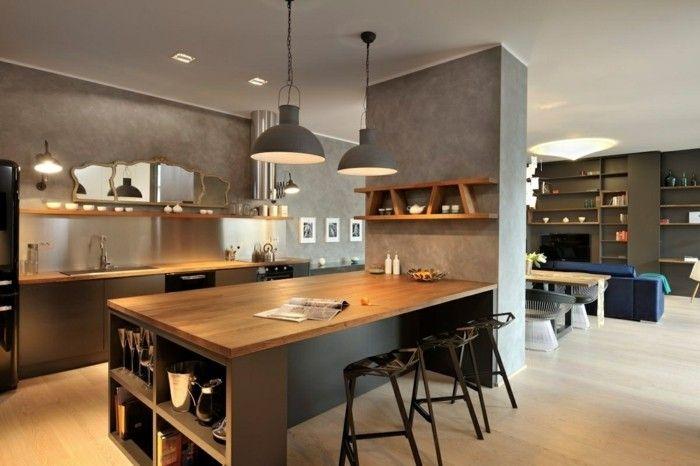 offene küche mit schicker wandgestaltung und hängelampen Küche - team 7 küche