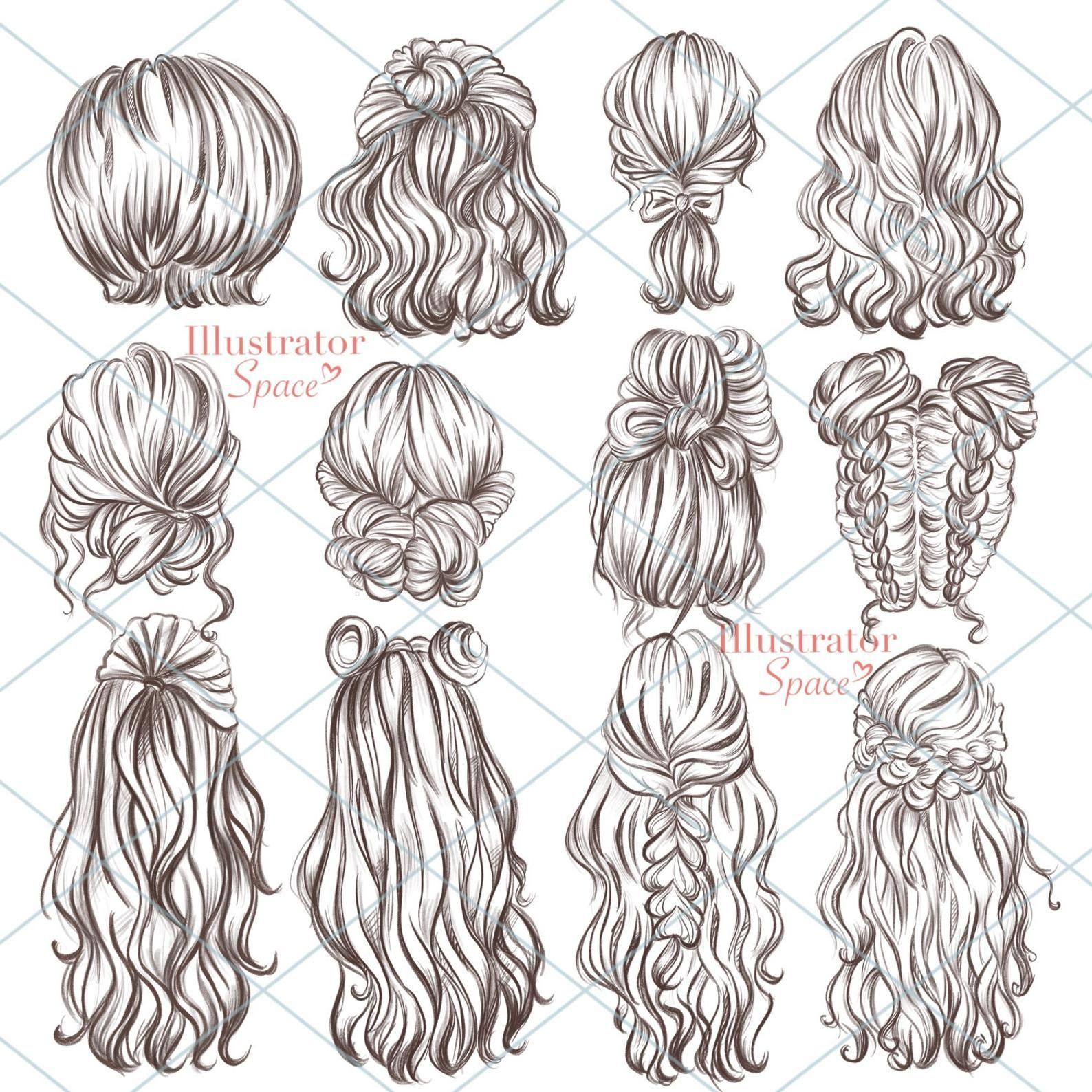 Hairstyles clipart hair set DIGITAL DOWNLOAD Custo