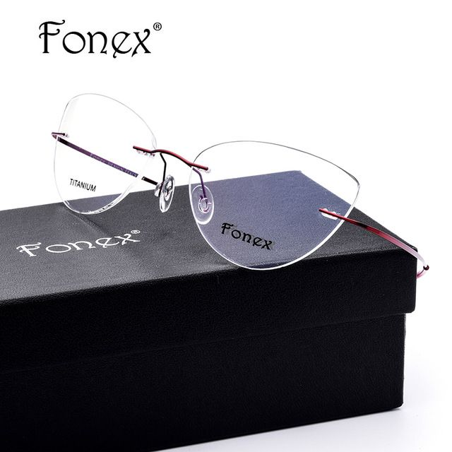 daf6438e2691 FONEX No Screw 2017 Cat Eye Rimless Prescription Glasses Frame Women  Titanium Eyeglasses Myopia Optical Frames Eyewear Silhouett