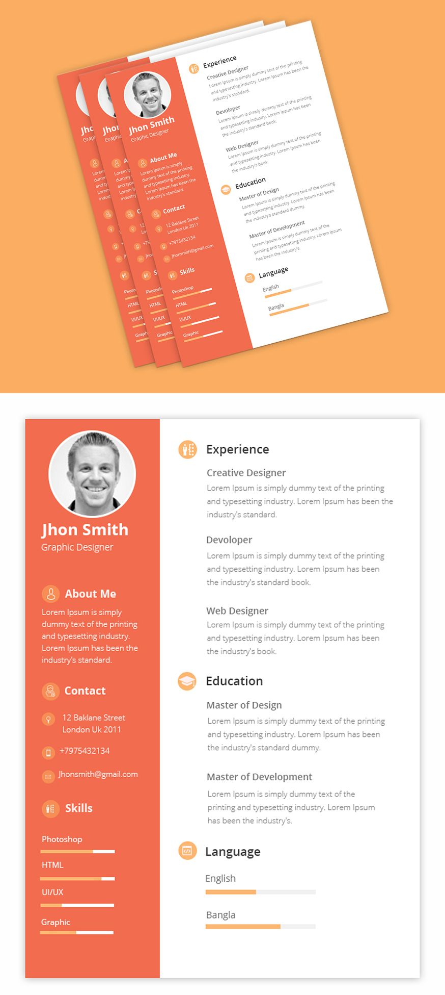 free psd for clean cv  resume template