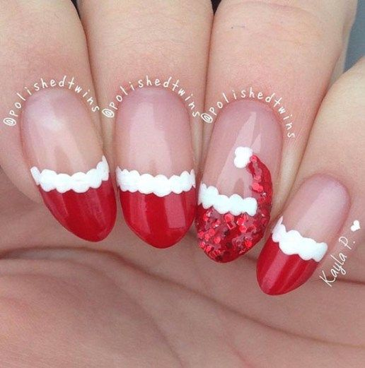 Festive Christmas Nail Designs for An outstanding Christmas nail art can  help you get into the Christmas spirit.Hopefully you will find yours from  this list ... - Santa-hat-christmas-nails Nails Pinterest Jamberry Nails