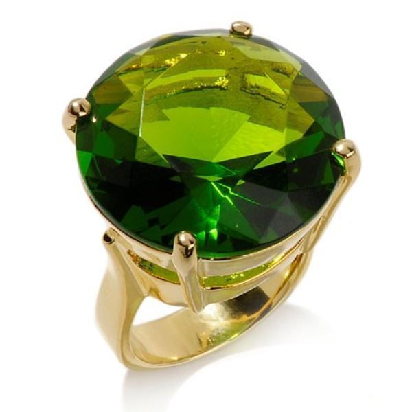 Noir for Patricia Field Green Large Stone Solitaire Goldtone Ring Size 7 $90 #Noir #Solitaire