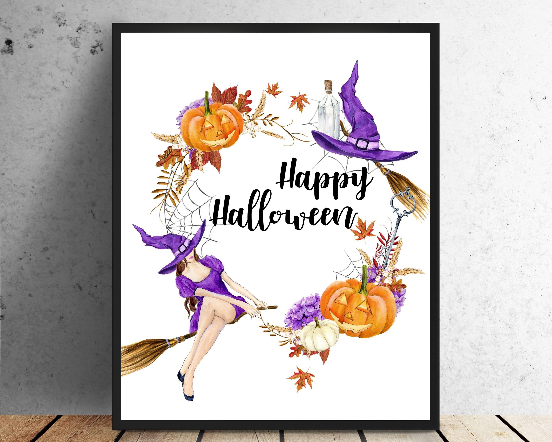 Halloween Decor Happy Halloween Sign Witch Decor Pumpkin Decor