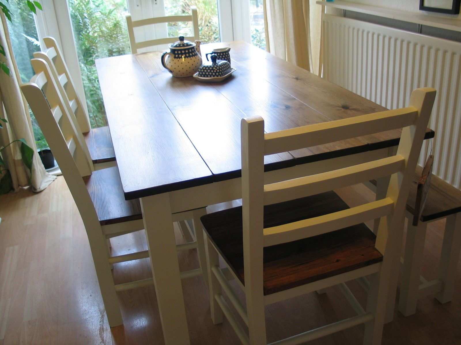 Large Chunky Pine Board Dining Table 4 Chairs Bench Seat 8 Shabby Chic Farmhouse Farmhouse Table Chairs Pine Dining Room Farmhouse Dining Room