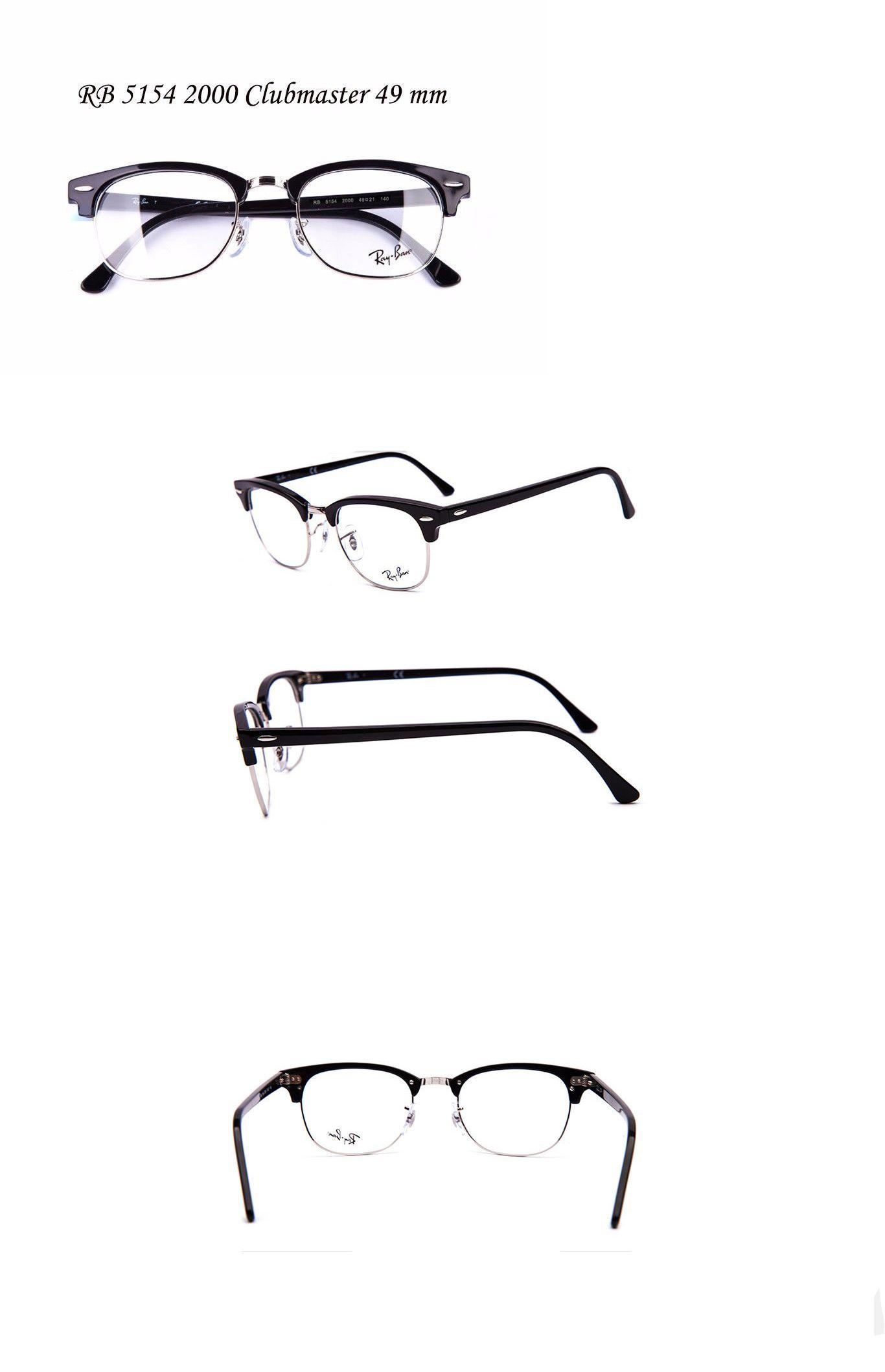 3ab7202b734 Eyeglass Frames  Rayban Eyeglass Frame Rb Rx 5154 2000 Clubmaster Black  Frame Silver Rim 49Mm