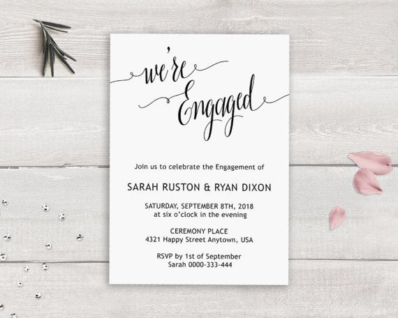 Engagement Party Invitation Template, Weu0027re Engaged, Calligraphy - engagement party invites templates