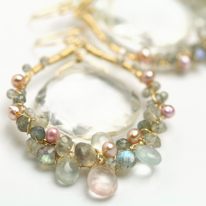 rose quartz. culture pearl cluster aquamarine Wire work tassle dangle earrings