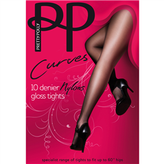 "Pretty Polly | Curves Nylon Tights, Black. Fits Up To 60"" Hips, XL, XXL"