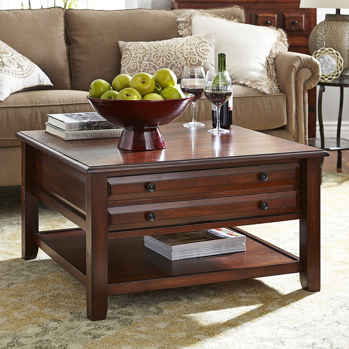 Anywhere square coffee table tuscan brown pier 1