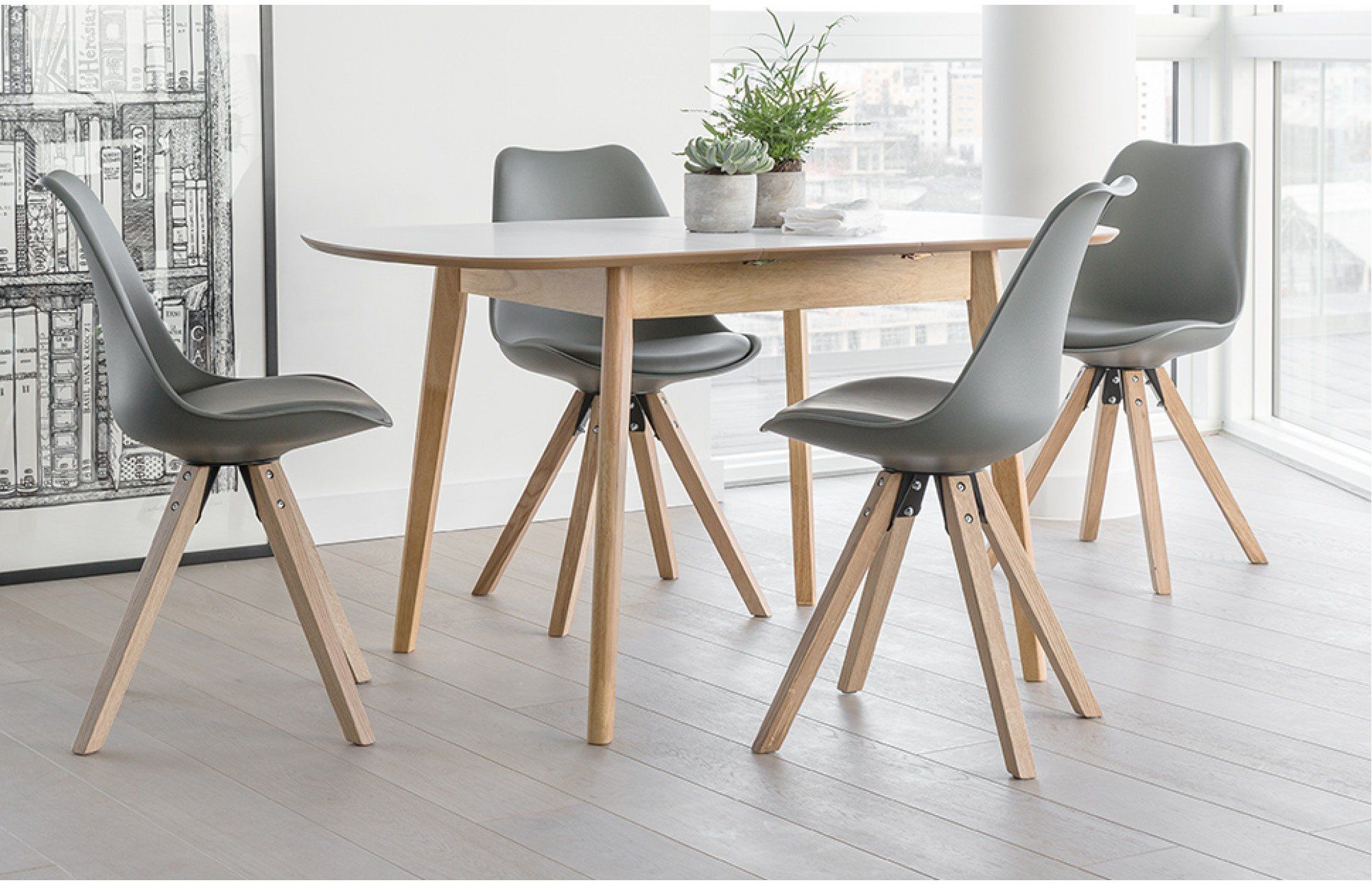 This Trendy Grey Extendable Dining Set Comes With An Extending Table And Four Bojan Dining Chairs Dining Room Small Small Dining Room Table Dining Table Chairs