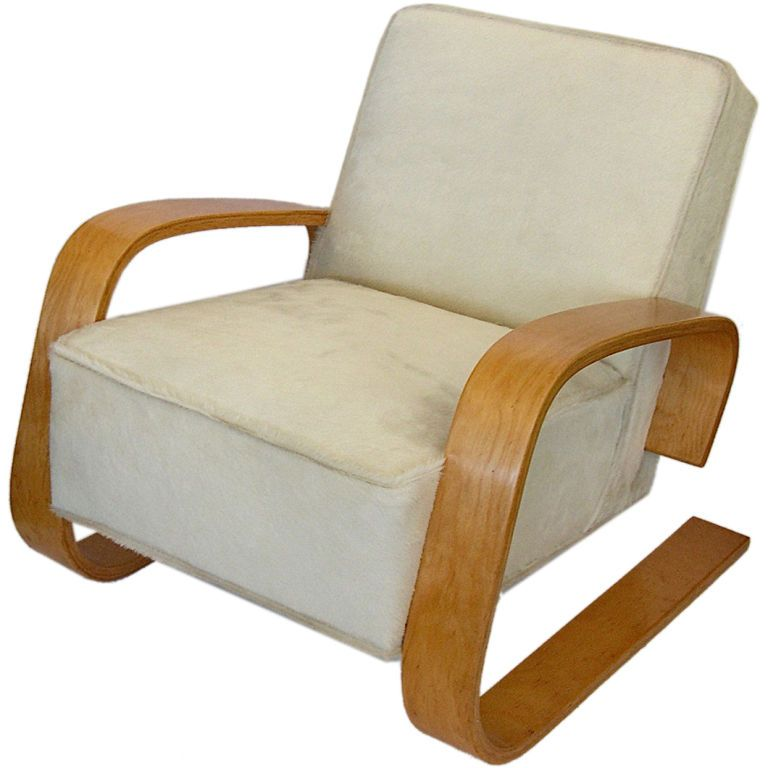 Early Original Alvar Aalto Tank Chair in Hair on Hide | From a unique collection of antique and modern lounge chairs at https://www.1stdibs.com/furniture/seating/lounge-chairs/