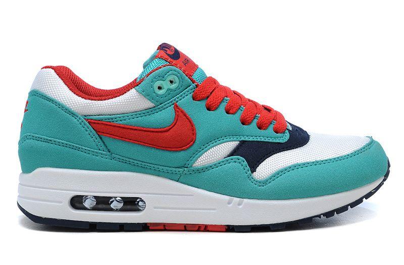 on sale 5d4bf d96e4 Nike Air Max 1 Womens Blue Red £59.99. 2014 Womens 319986-400 Nike Air Max  1 Retro Sport Red White ...