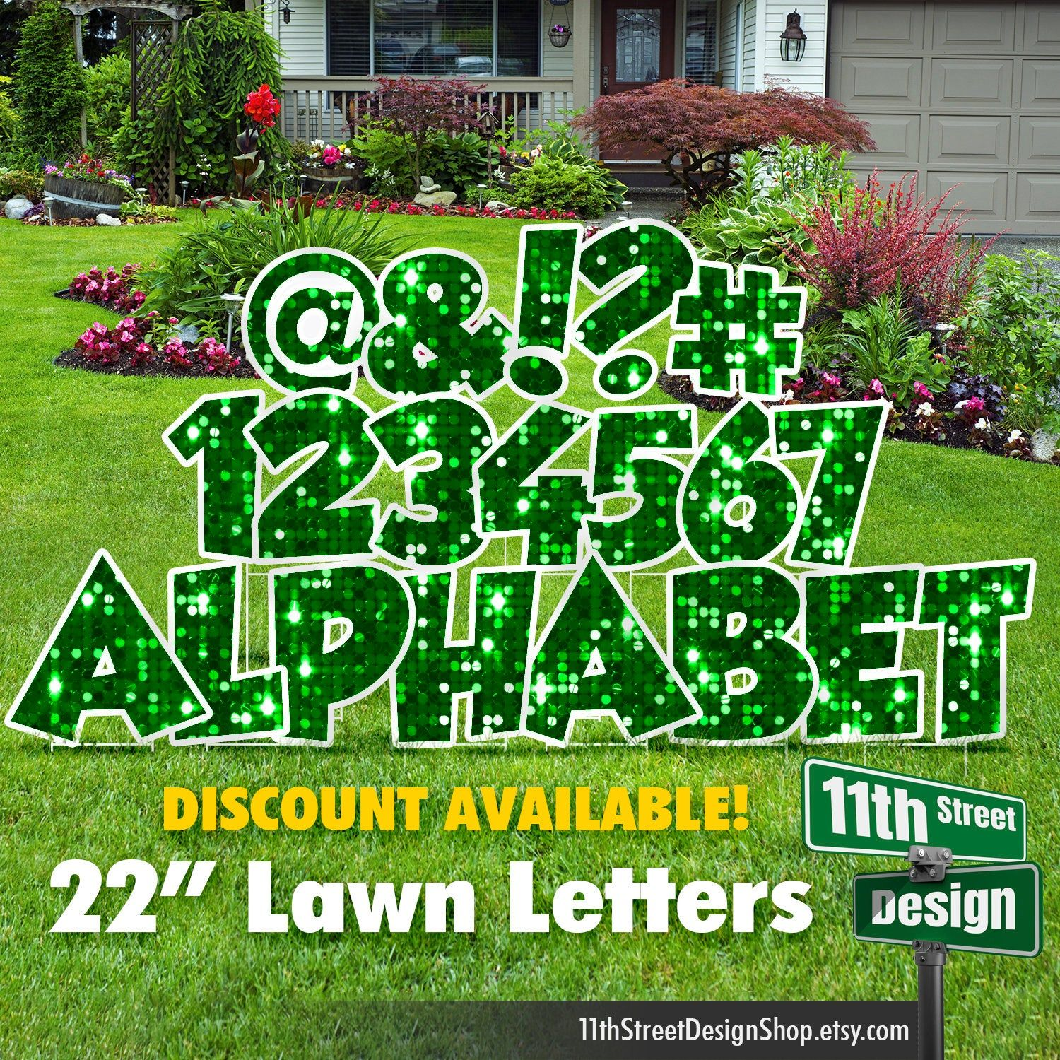22 Green Sparkle Lawn Letter Yard Signs 22 Chunky Etsy In 2021 Yard Signs Yard Cards Lawn Decor