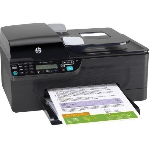 PRINTER,OJ 4500,AIO by HP. $84.60. Produce professional results at your home or small office with this all-in-one printer. Quickly print documents, brochures and flyers in rich, attention-grabbing color at a low cost per page. Automatic document feeder enables you to copy, fax and scan more productively. Energy-efficient model helps you conserve resources and money. View and store faxes electronically to save paper. Easily scan documents and share them with everyone on your n...