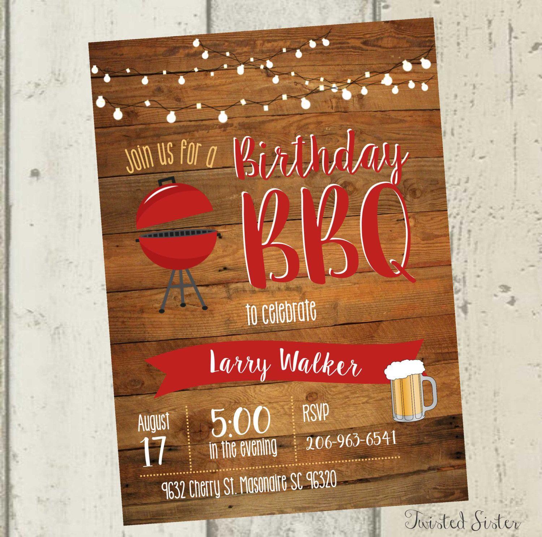 Adult Birthday Invitation, birthday bbq invitation, Cheers and Beers ...