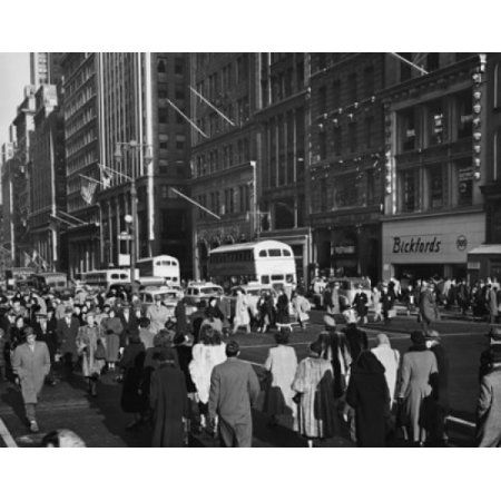 Crowd in a street 42nd Street Fifth Avenue Manhattan New York City New York USA Canvas Art - (24 x 36)