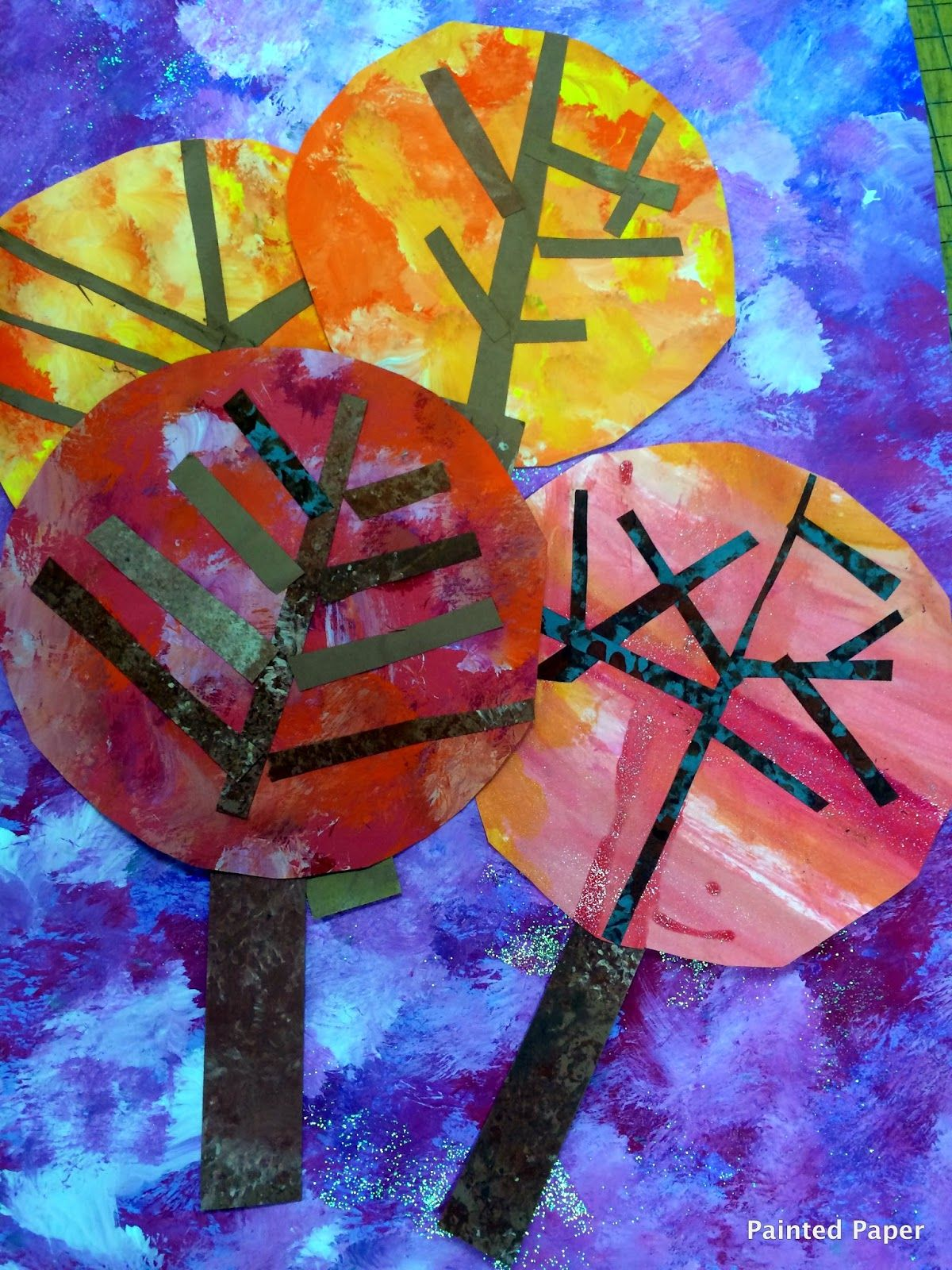 Painted Paper Autumn Trees Warm Colors Cool Colors Sponge Painting