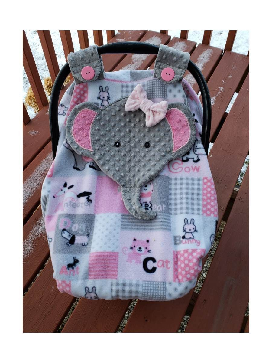Ready To Be Shipped Fitted Elephant Carseat Canopy With Peek A Boo Opening This