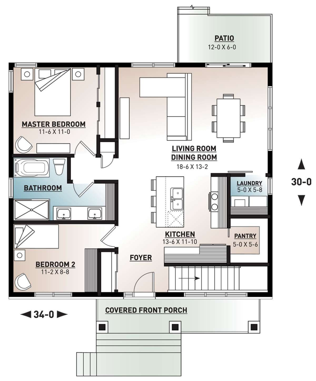 House Plan 034 01222 Northwest Plan 1 020 Square Feet 2 Bedrooms 1 Bathroom Unique Floor Plans Craftsman Style House Plans House Floor Plans