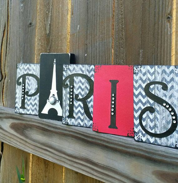 Paris Eiffel Tower Bedroom decor wood sign block Black white Grey ...