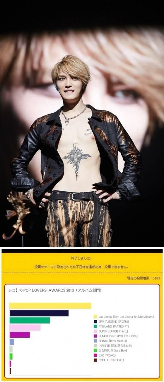 Jaejoong Voted As Album Of The Year for Japan's 'K-POP LOVERS! AWARD 2013
