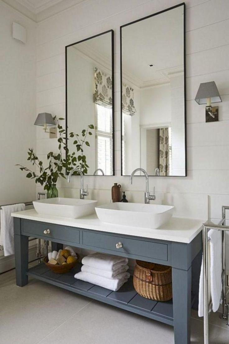light blue sink with ship lap walls Bathroom renovation